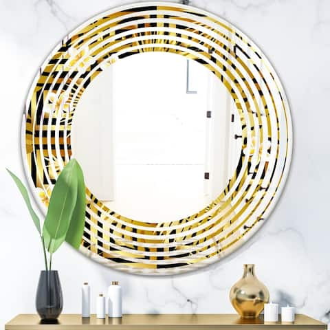 Designart 'Modern gold luxury pattern' Modern Round or Oval Wall Mirror - Wave
