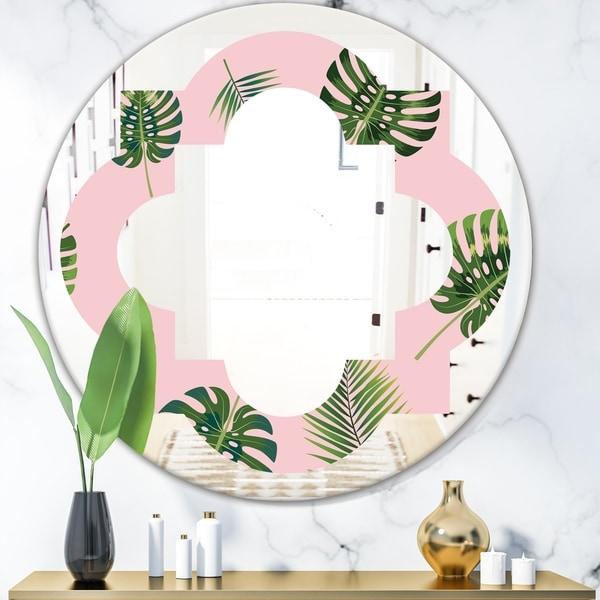Designart 'Palm Tropical leaves pattern.' Modern Round or Oval Wall Mirror - Quatrefoil