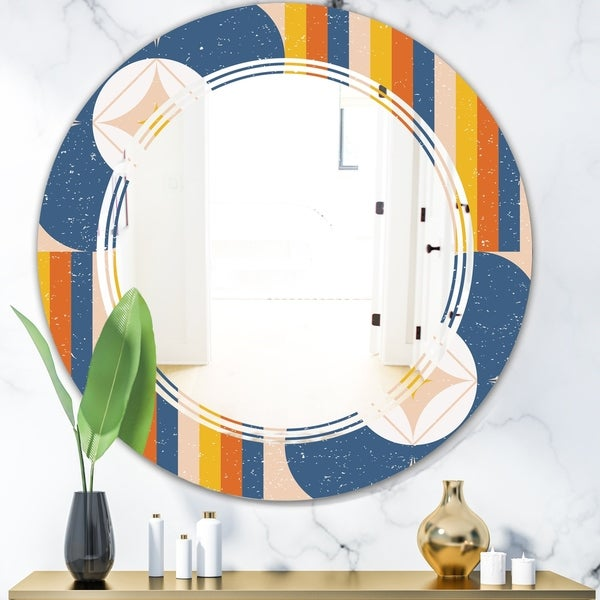 Designart 'Retro Floral Pattern XI' Modern Round or Oval Wall Mirror - Triple C