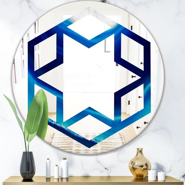 Designart 'Blue Slice agate crystal' Modern Round or Oval Wall Mirror - Hexagon Star