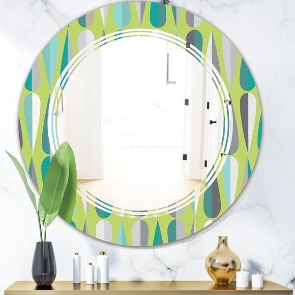 Designart 'Retro Abstract Drops VI' Modern Round or Oval Wall Mirror - Triple C