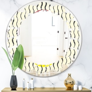 Designart 'Wave Pattern' Modern Round or Oval Wall Mirror - Leaves