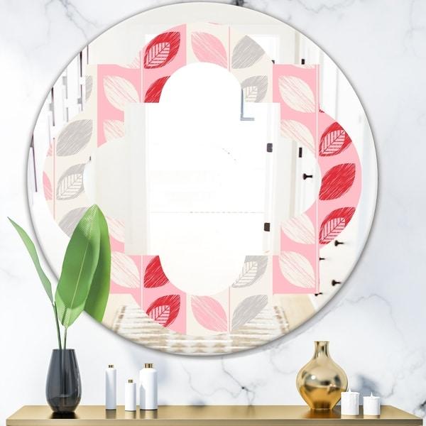 Designart 'Botanical Retro Design I' Modern Round or Oval Wall Mirror - Quatrefoil