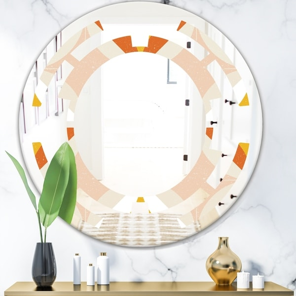 Designart 'Retro Abstract Design XII' Modern Round or Oval Wall Mirror - Space