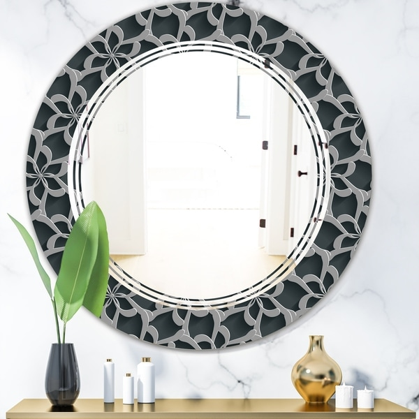 Designart 'Floral 3d Pattern Background.' Modern Round or Oval Wall Mirror - Triple C