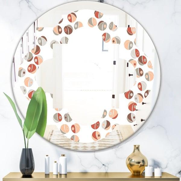 Designart 'Retro Abstract Design XIX' Modern Round or Oval Wall Mirror - Quatrefoil