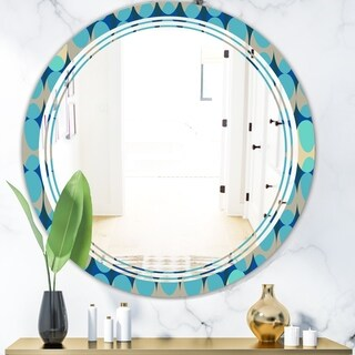 Designart 'Retro Abstract Design XV' Modern Round or Oval Wall Mirror - Triple C