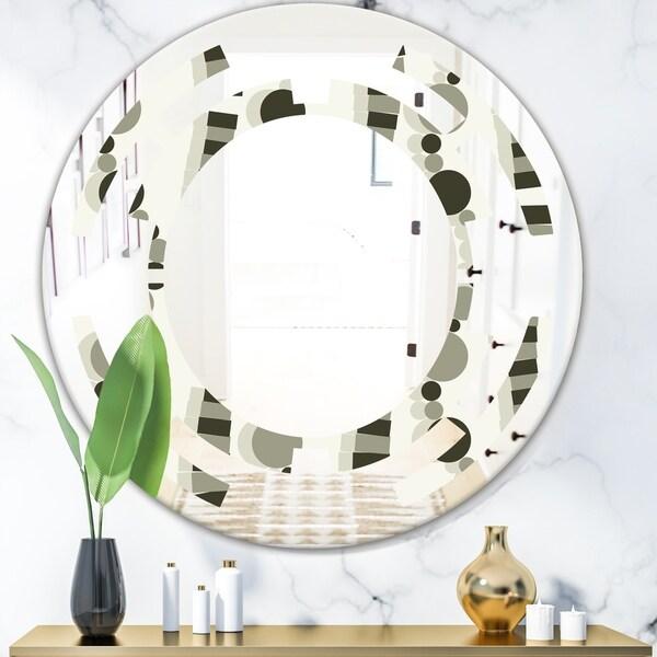 Designart 'Monochrome Geometric Pattern VI' Modern Round or Oval Wall Mirror - Space