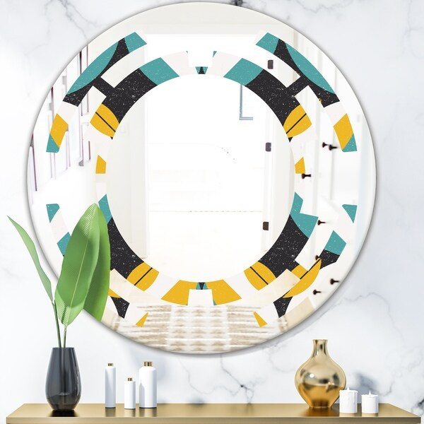 Designart 'Retro Abstract Design VII' Modern Round or Oval Wall Mirror - Space