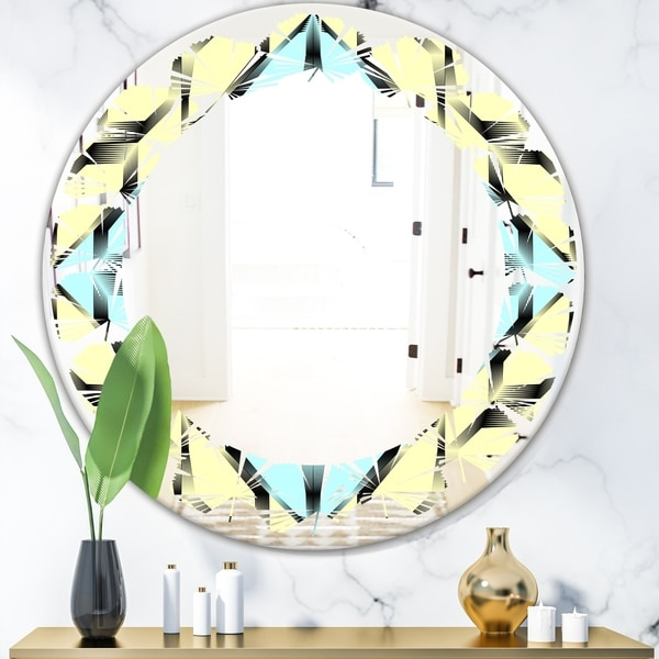 Designart 'Black and White Fashion Ornament' Modern Round or Oval Wall Mirror - Leaves