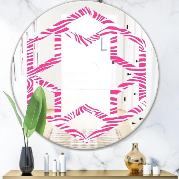 Designart 'Glamour Zebra Animal Pattern' Modern Round or Oval Wall Mirror - Hexagon Star