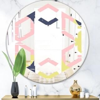 Designart 'Retro Pastel Circular Pattern I' Modern Round or Oval Wall Mirror - Hexagon Star