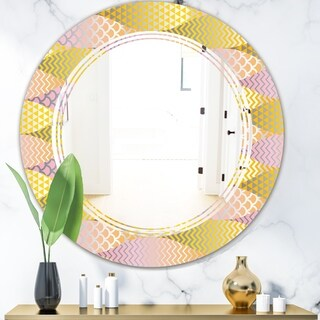 Designart 'Golden Geometrical Fish Scale' Modern Round or Oval Wall Mirror - Triple C