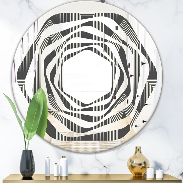 Designart 'Mimimal Black and White Design III' Modern Round or Oval Wall Mirror - Whirl