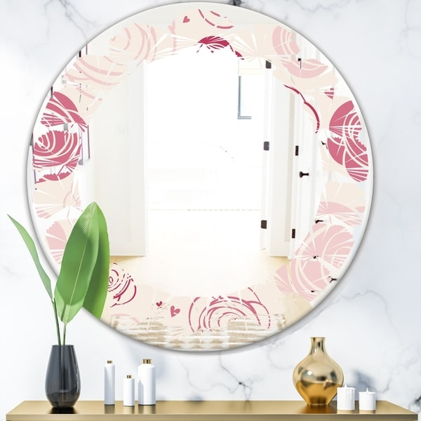 Designart 'roses pattern' Modern Round or Oval Wall Mirror - Leaves
