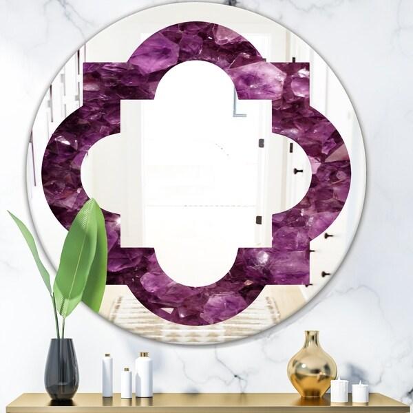 Designart 'Purple Gems' Modern Round or Oval Wall Mirror - Quatrefoil