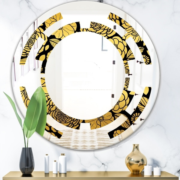 Designart 'Golden Floral II' Modern Round or Oval Wall Mirror - Space
