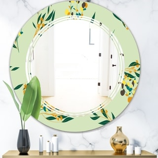 Designart 'Bright Eucalyptus Floral Pattern III' Cottage Round or Oval Wall Mirror - Triple C