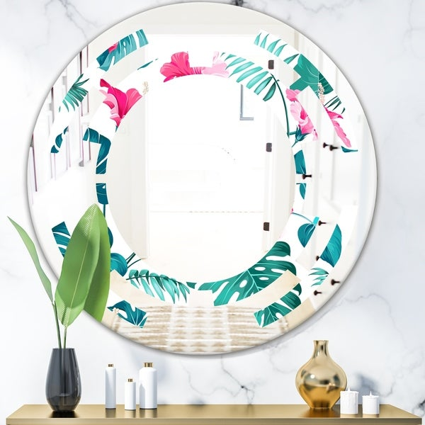 Designart 'Tropical Botanicals and Flowers' Modern Round or Oval Wall Mirror - Space