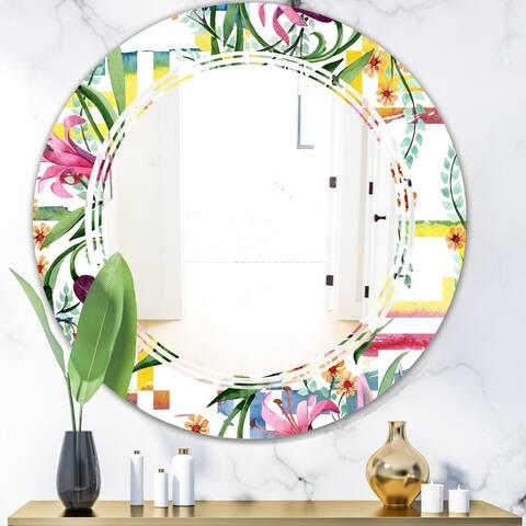 Designart 'Floral Botanical Retro XI' Cottage Round or Oval Wall Mirror - Triple C - Multi