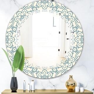 Designart 'Floral Retro Pattern IV' Modern Round or Oval Wall Mirror - Triple C
