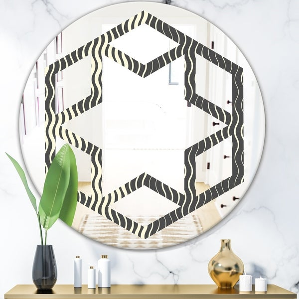 Designart 'Retro Geometrical Abstract Minimal Pattern V' Modern Round or Oval Wall Mirror - Hexagon Star