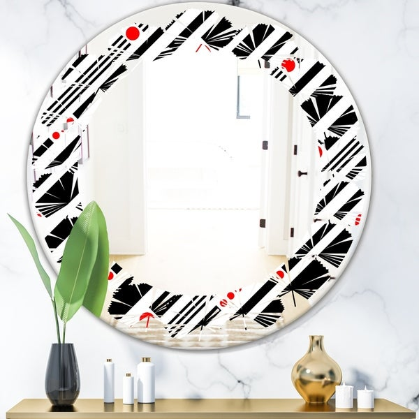 Designart 'Retro Geometrical Abstract Minimal Pattern XII' Modern Round or Oval Wall Mirror - Leaves