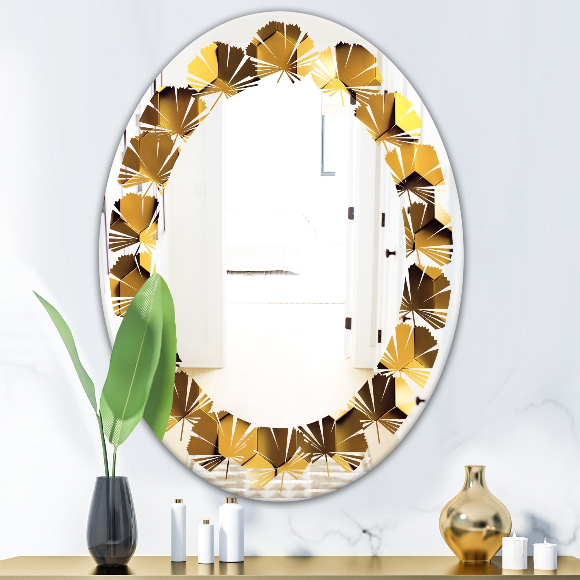 Shop Designart Golden Honeycomb Wall Texture Modern Round Or Oval Wall Mirror Leaves On Sale Overstock 29924397