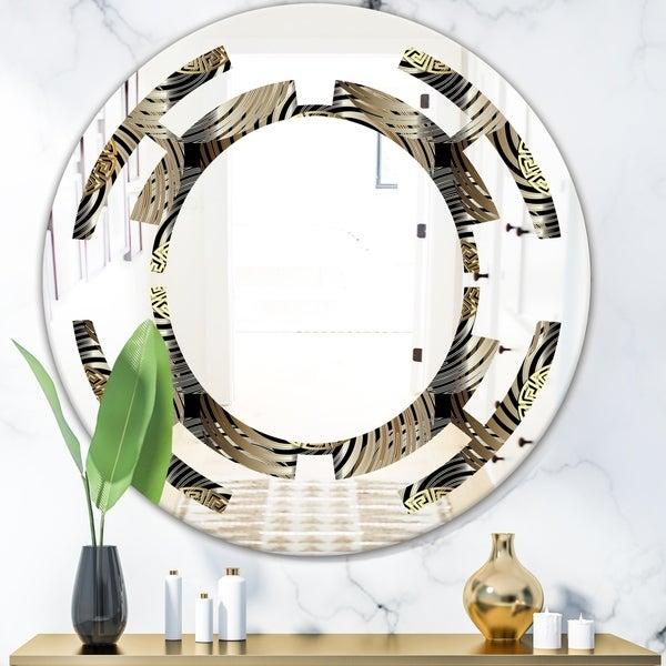 Designart 'Circular Geometric Retro Abstract I' Modern Round or Oval Wall Mirror - Space