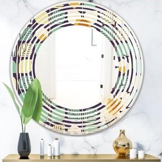 Designart 'Botanical Retro Design III' Modern Round or Oval Wall Mirror - Wave