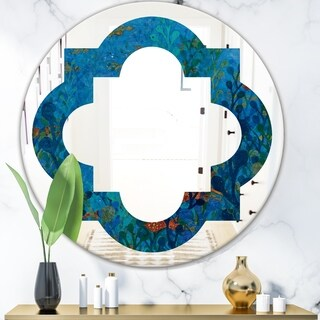 Designart 'Blue Underwater Lake leaves I' Cottage Round or Oval Wall Mirror - Quatrefoil