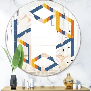 Designart 'Retro Floral Pattern XI' Modern Round or Oval Wall Mirror - Hexagon Star