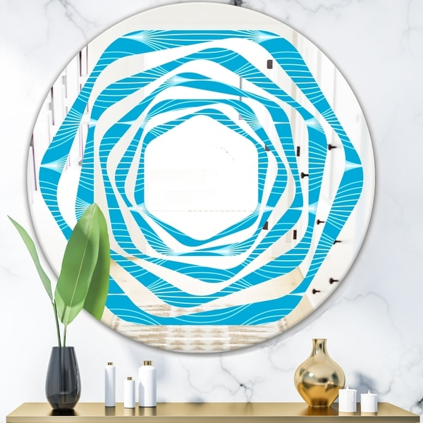 Designart 'Light Blue Wave pattern' Modern Round or Oval Wall Mirror - Whirl
