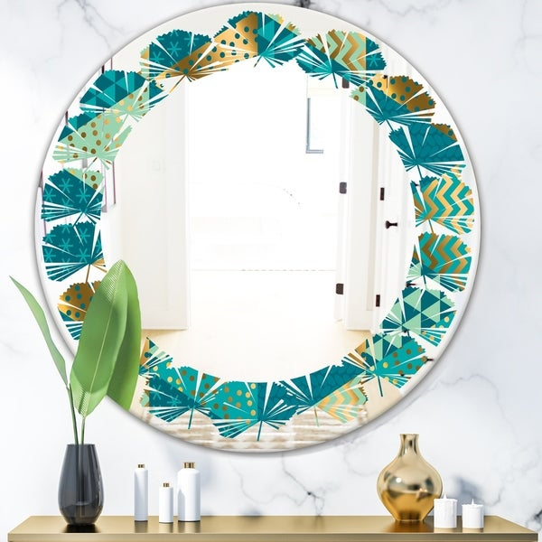 Designart 'Gold and Blue Dynamics I' Modern Round or Oval Wall Mirror - Leaves