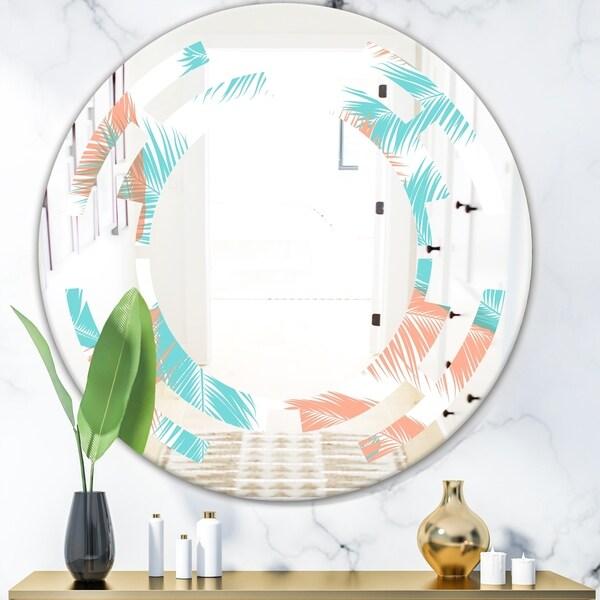 Designart 'Retro Tropical Foliage II' Modern Round or Oval Wall Mirror - Space - Multi