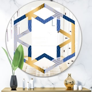 Designart 'Retro Luxury Waves In Gold and Blue X' Modern Round or Oval Wall Mirror - Hexagon Star