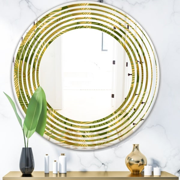 Designart 'Golden Leaves I' Modern Round or Oval Wall Mirror - Wave