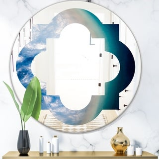 Designart 'Agate beautiful colorful slices and texture' Modern Round or Oval Wall Mirror - Quatrefoil