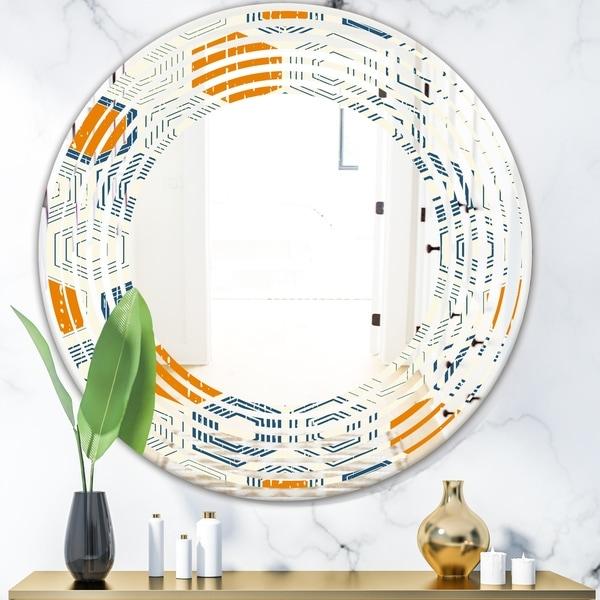 Designart 'Retro Hexagon Pattern IX' Modern Round or Oval Wall Mirror - Wave