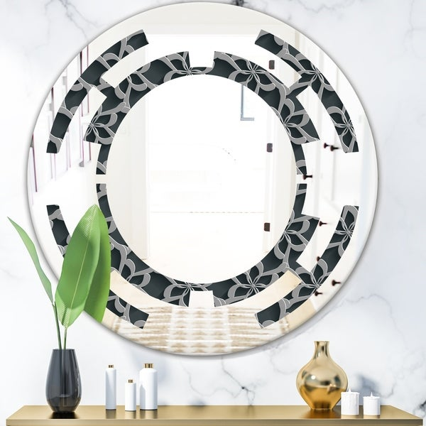Designart 'Floral 3d Pattern Background.' Modern Round or Oval Wall Mirror - Space