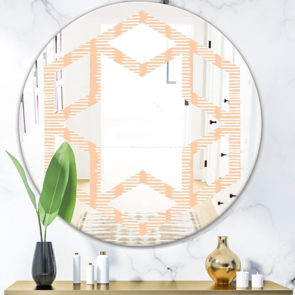 Designart 'Retro Abstract Lines Pattern' Modern Round or Oval Wall Mirror - Hexagon Star
