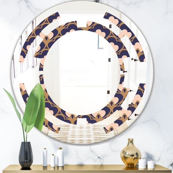 Designart 'Retro Ornamental Design IX' Cottage Round or Oval Wall Mirror - Space