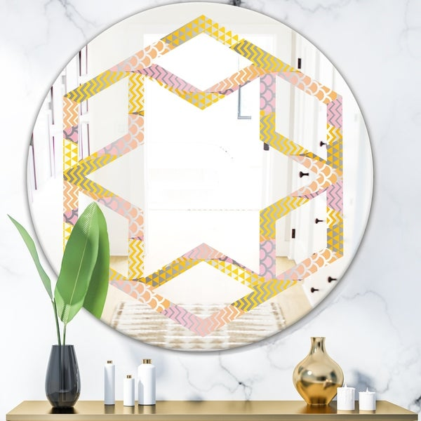 Designart 'Golden Geometrical Fish Scale' Modern Round or Oval Wall Mirror - Hexagon Star