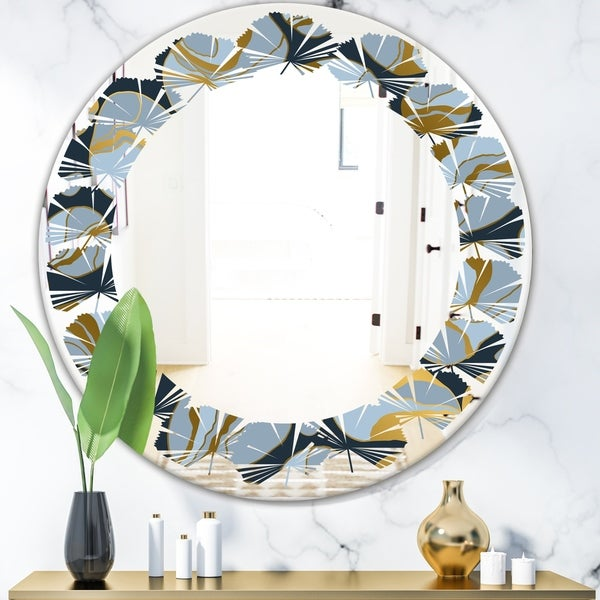 Designart 'Golden Marble Design IV' Modern Round or Oval Wall Mirror - Leaves