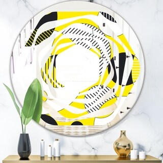 Designart 'Circular Abstract Retro Geometric I' Modern Round or Oval Wall Mirror - Whirl