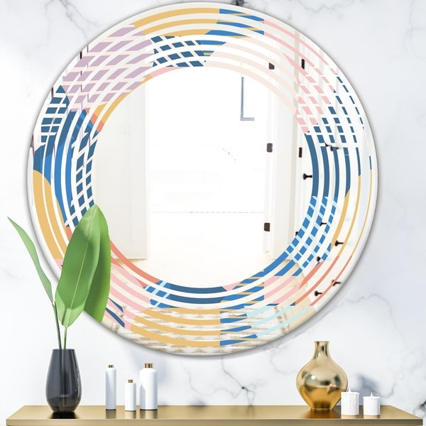 Designart 'Trendy Contemporary Geometry Shapes Pattern' Modern Round or Oval Wall Mirror - Wave - Multi