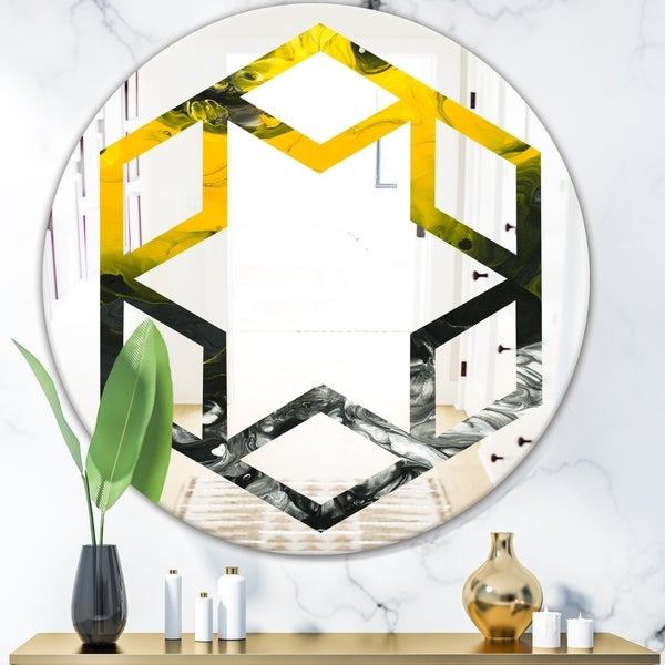 Designart 'Marbled Yellow 4' Modern Round or Oval Wall Mirror - Hexagon Star