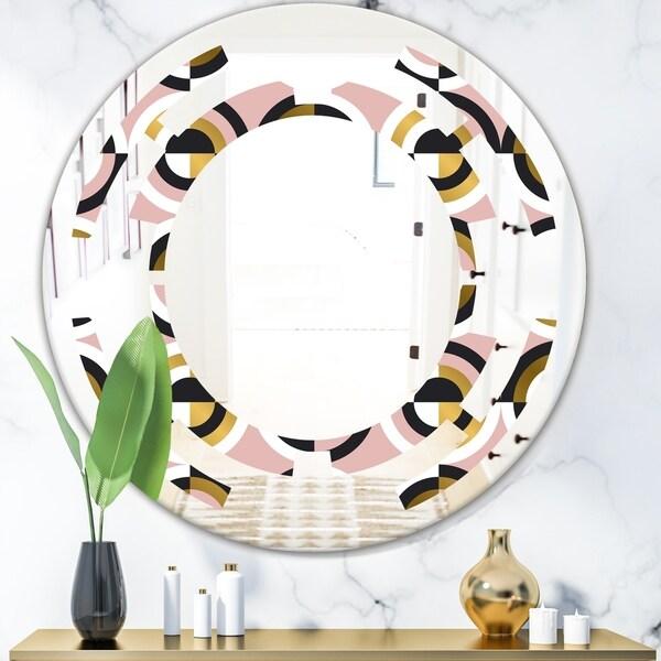 Designart 'Abstract Geometric Circular Retro I' Modern Round or Oval Wall Mirror - Space