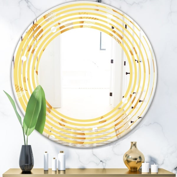 Designart 'Minimal Yellow Geometrical Shapes' Modern Round or Oval Wall Mirror - Wave