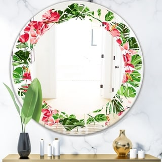 Designart 'Tropical Leaves and Flowers I' Cottage Round or Oval Wall Mirror - Leaves